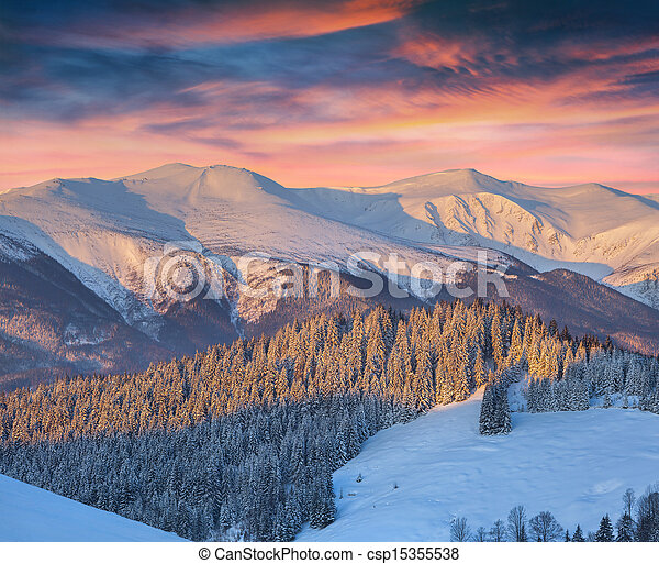 Colorful winter landscape in mountains - csp15355538