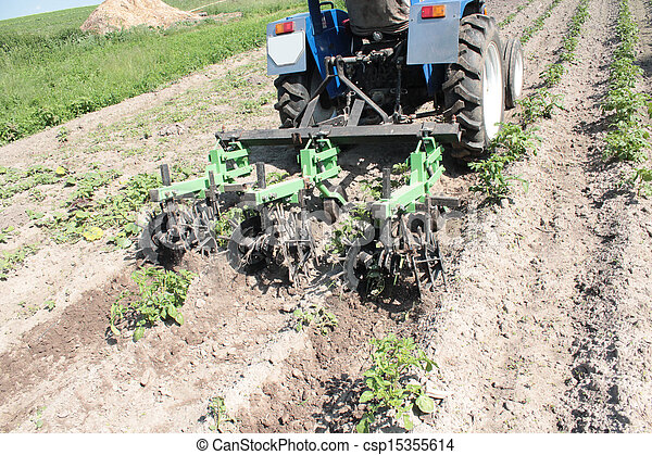 special equipment on a tractor for weed in agriculture - csp15355614