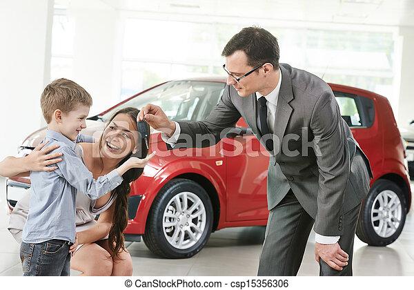 Car purchasing at automobile sale centre - csp15356306