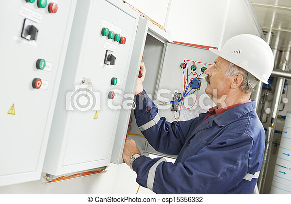 Senior adult electrician engineer worker - csp15356332
