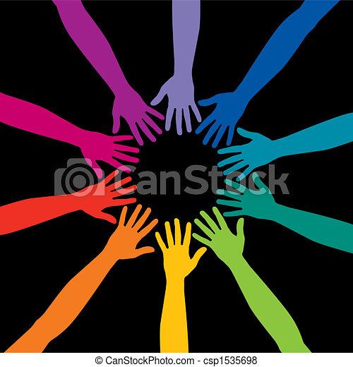 A diverse circle of hands - csp1535698