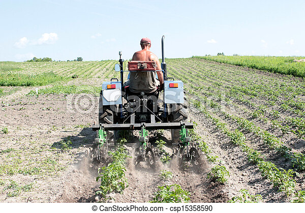 special equipment on a tractor for weed in agriculture - csp15358590