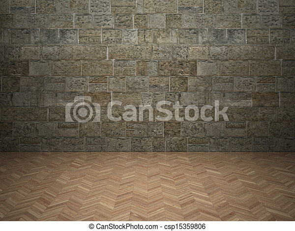 Wand, laminat, mauerstein, Boden - csp15359806