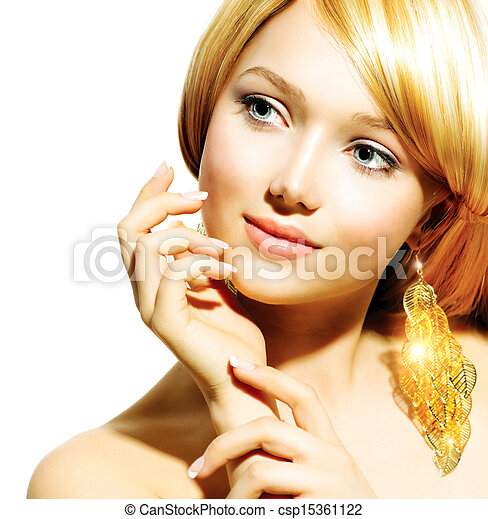 Beauty Blonde Fashion Model Girl With Golden Earrings - csp15361122