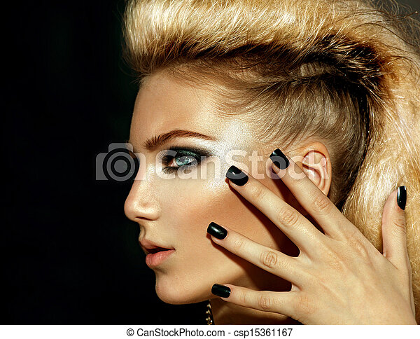 Fashion Rocker Style Model Girl Portrait. Hairstyle  - csp15361167