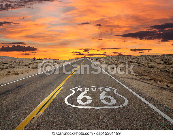 Route 66 Pavement Sign Sunrise Mojave Desert - csp15361199