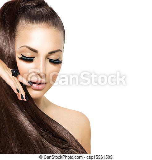 Beauty Fashion Girl with Long Hair. Trendy Caviar Black Manicure  - csp15361503