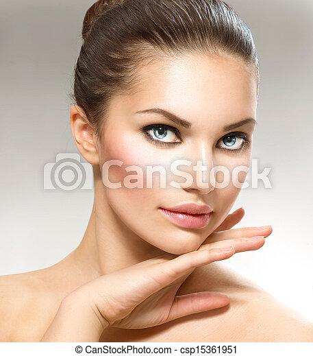 Beauty Portrait. Beautiful Spa Woman Touching her Face - csp15361951