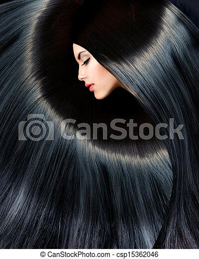 mulher, beleza, saudável, longo, morena, pretas, hair. - csp15362046