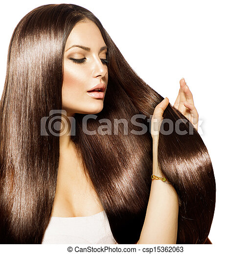 Beauty Woman touching her Long and Healthy Brown Hair - csp15362063