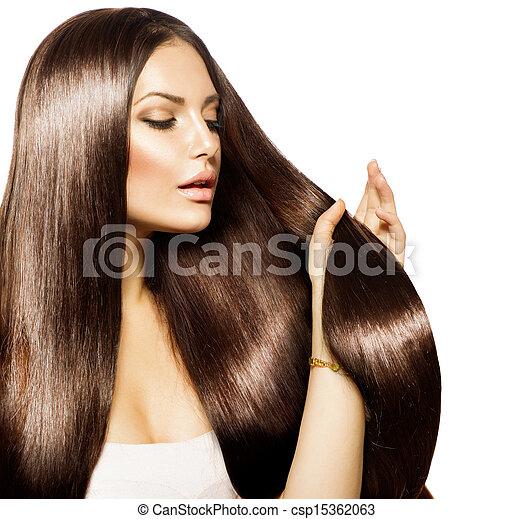 ブラウン, 女, 美しさ, 彼女, 健康, 長い間, 毛, 感動的である - csp15362063
