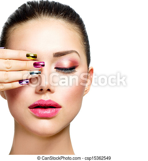 Fashion Beauty. Woman With Colorful Nails and Luxury Makeup - csp15362549