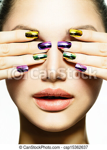 Manicure and Make-up. Nail art. Beauty Woman With Colorful Nails  - csp15362637