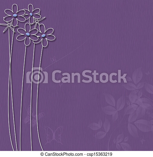 Purple background with white flowers  - csp15363219