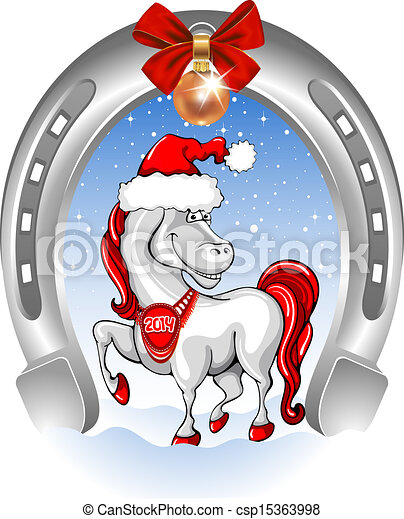 EPS Vectors of Merry Christmas card with funny horse symbol of 2014 ...
