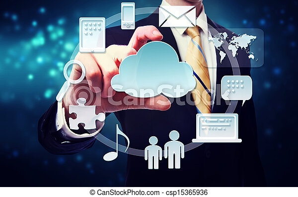 Business man with connectivity through cloud computing concept - csp15365936