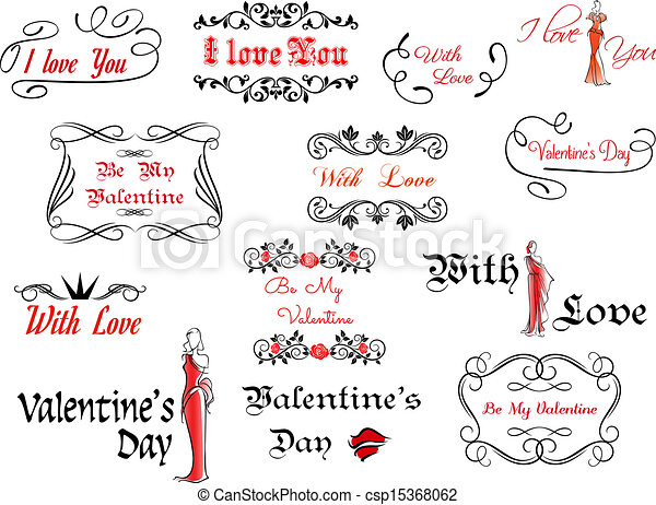 Romantic and Valentine's Day headers - csp15368062