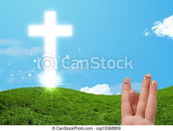 Happy finger smileys with christian religion cross - csp15368809