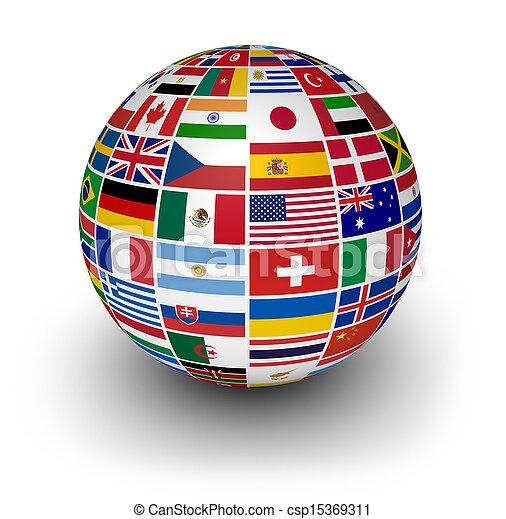 international, erdball, Flaggen, Welt - csp15369311