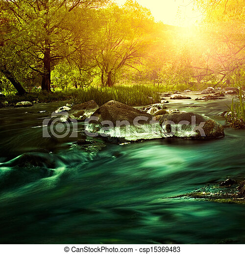 Sunset on the mountain river, environmental backgrounds - csp15369483