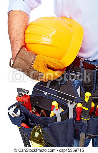 Worker with a tool belt. Construction. - csp15369715