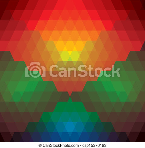 abstract colorful background of diamonds & triangles shapes- vector graphic. This illustration has repetitive diamonds, rhombus & triangles shaped pattern made of orange, red, brown, blue, green colors - csp15370193