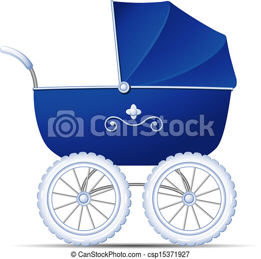 Vector Illustration of Baby Carriage - Blue Baby Carriage over white ...