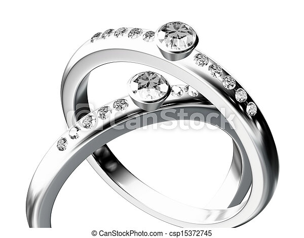 silver wedding ring  - csp15372745