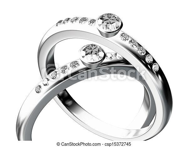 silver wedding ring  - csp15372745