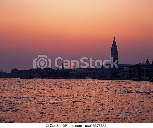 Waterfront at sunset, Venice. - csp15373883