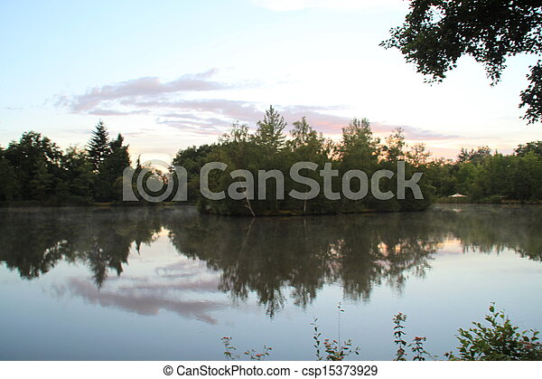 Trees reflected in a French lake - csp15373929