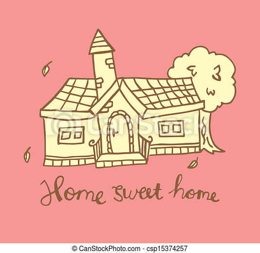 Home Sweet Home Doodle - Royalty Free Vector Clipart ...