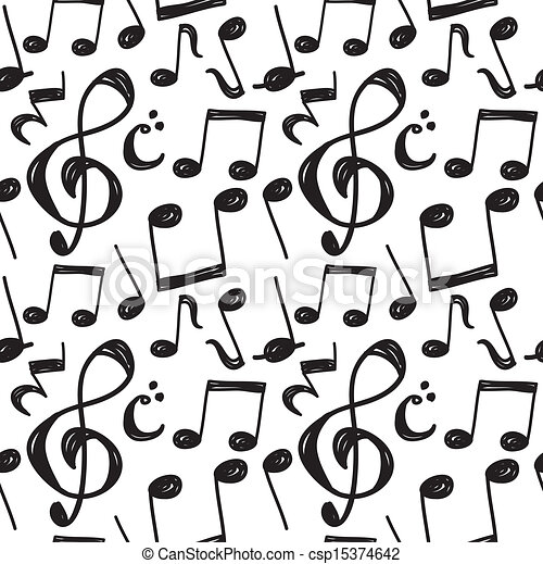 EPS Vector of music note pattern csp15374642 - Search Clip ...