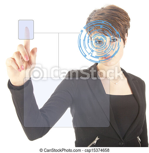 Young woman with security iris and fingerprint scan isolated on white background - csp15374658