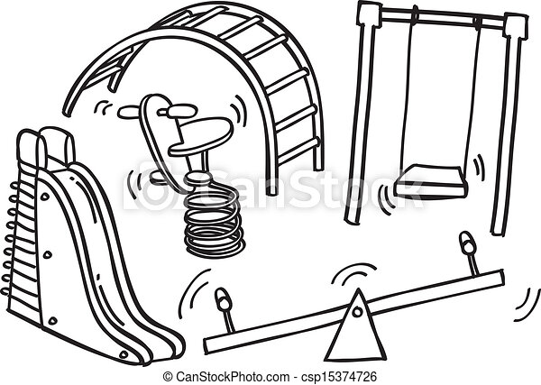Vector Illustration of playground doodle - playground ...