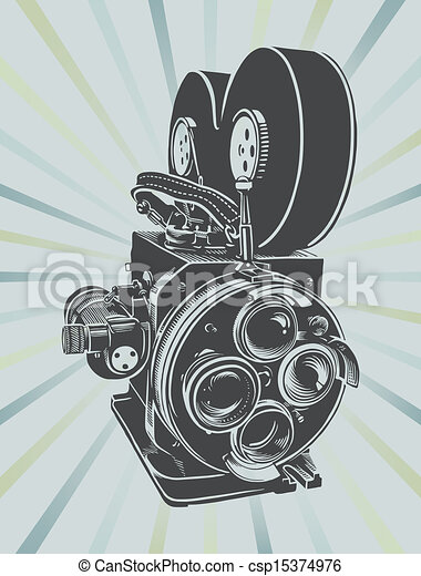 Vectors Illustration of Vintage video camera - Vector illustration ...