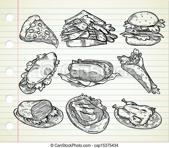 hand drawn junk food - csp15375434
