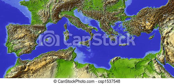 Mediterranean, shaded relief map - csp1537548