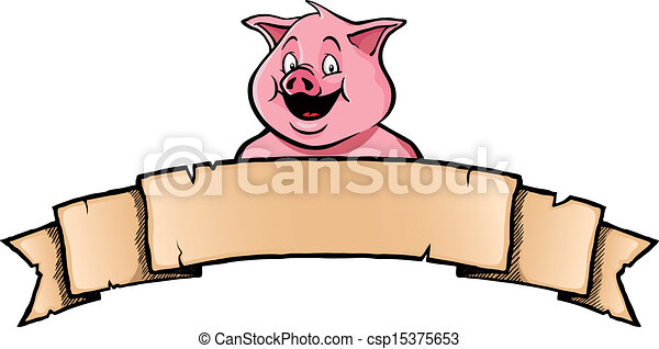 Pig with ribbon banner - csp15375653