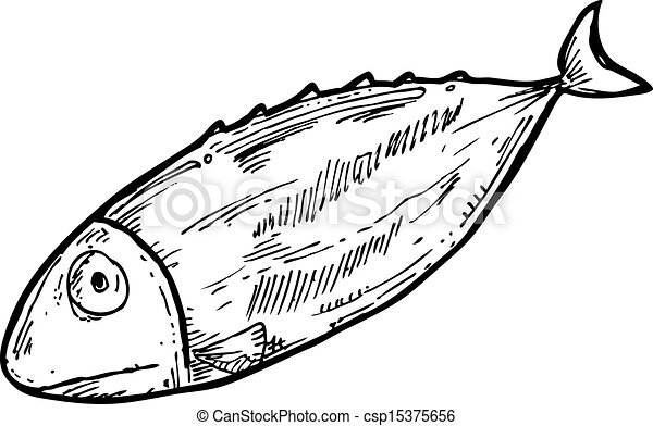 Cooked fish clipart black and white - photo#15