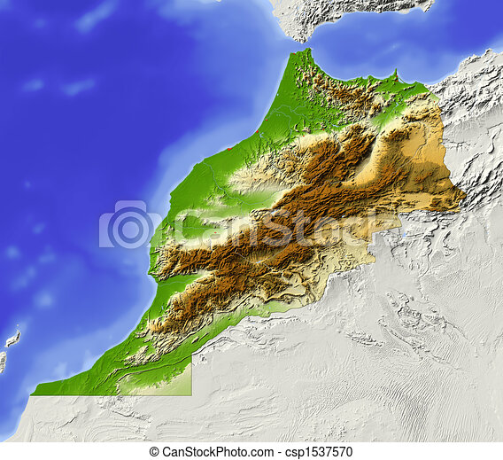 Morocco, shaded relief map - csp1537570
