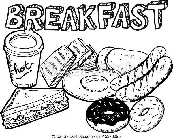EPS Vectors of breakfast food in doodle style - various breakfast ...