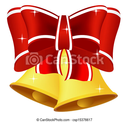 Vector Clip Art of Christmas bell with bow - Christmas bells with ...