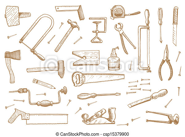 Vintage set of tools  Stock Vector  - csp15379900