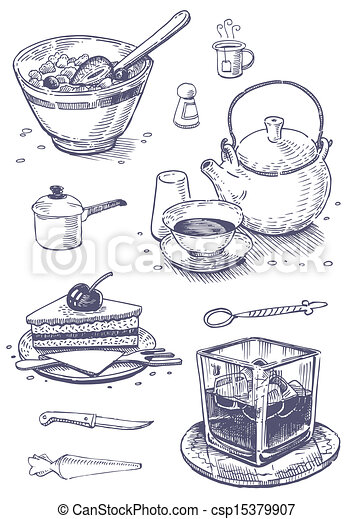 Vector clipart of vintage set of food and kitchen utensils for Art cuisine evolution 10 piece cooking set