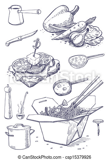 Vector illustration of vintage set of food and kitchen for Art cuisine evolution 10 piece cooking set