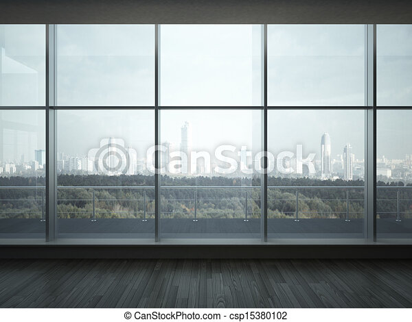 stock illustration of office interior with big windows 3d Window with Curtains Clip Art Large Window Frame Clip Art