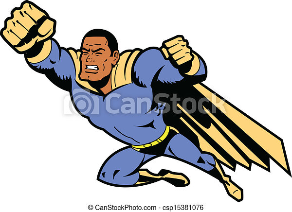 Vectors Illustration of Black Flying Superhero With Clenched Fist ... Superhero Flying Vector