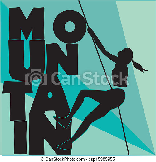 Clipart Vector of climbing the mountain - a black silhouette of a ...