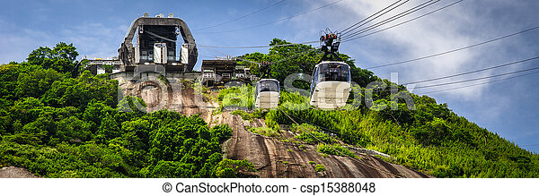Cable car station on mountain - csp15388048